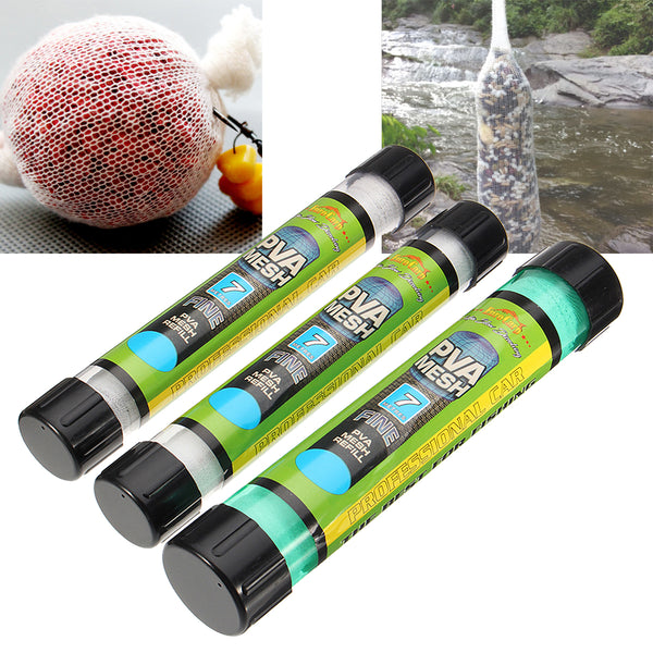 15/25/37mm Width PVA Wide Wire Mesh Coarse Fishing Baits Bag Stocking Plunger Stick Tube 7m Length #2