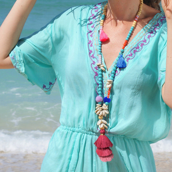 Gradient Colorful Tassel Handmade Beaded Necklace Shell Turquoise White Wooden Beads Long Necklace #03