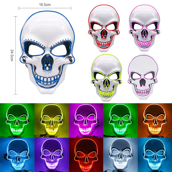 Halloween Skeleton Mask LED Scary EL-Wire Mask Light Up Festival Cosplay Costume Supplies Party Mask Red