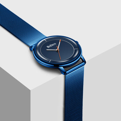 BIDEN 0208 Mesh Steel Band Casual Style Men Wrist Watch Blue