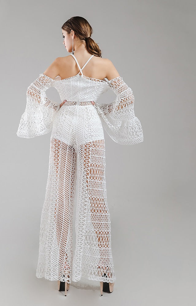 White Crochet Jumpsuit