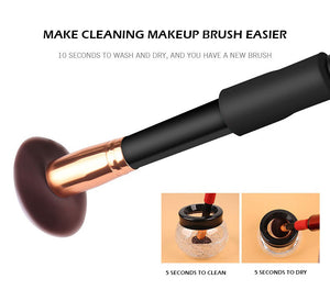 Makeup Brush Cleaner | Automatic Brush Cleaner & Dryer Stand – Cleaning Tool will Remove Excess Foundation Concealer Residue – Professional Universal with 8 Rubber Collars
