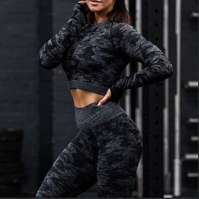 Seamless Camouflage Long sleeves Tops High Waist Leggings