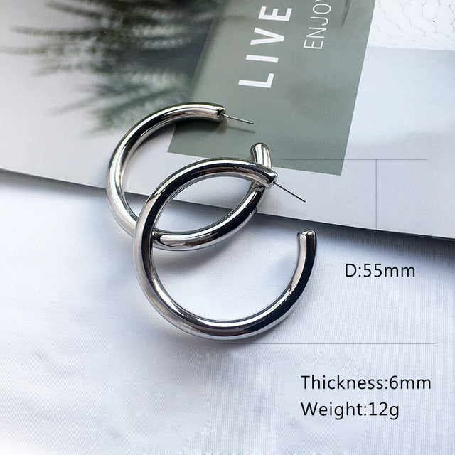 Street Style CC Hoop Chunky Gold Silver Small Big Hoop Earrings For Women | Punk Metal Gold Circle Earrings