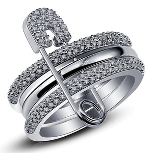 Silver Ring Set with Bedazzled Pin for Women