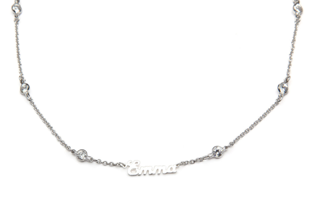 "Signature Collection:  Silver ""Emma"" Name Necklace on Crystal by the Yard Chain"