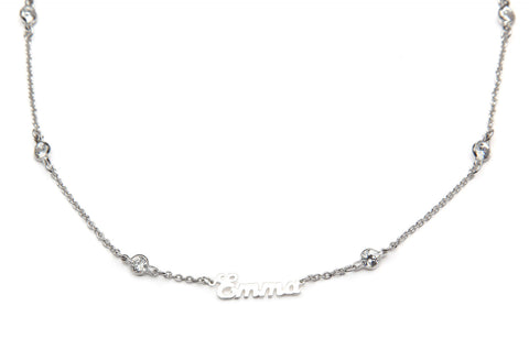 Signature Collection:  Silver Mini Script Name Necklace on Crystal by the Yard Chain