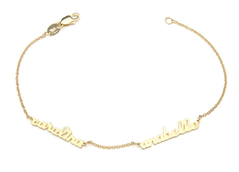 Signature Collection:  mini script name bracelet