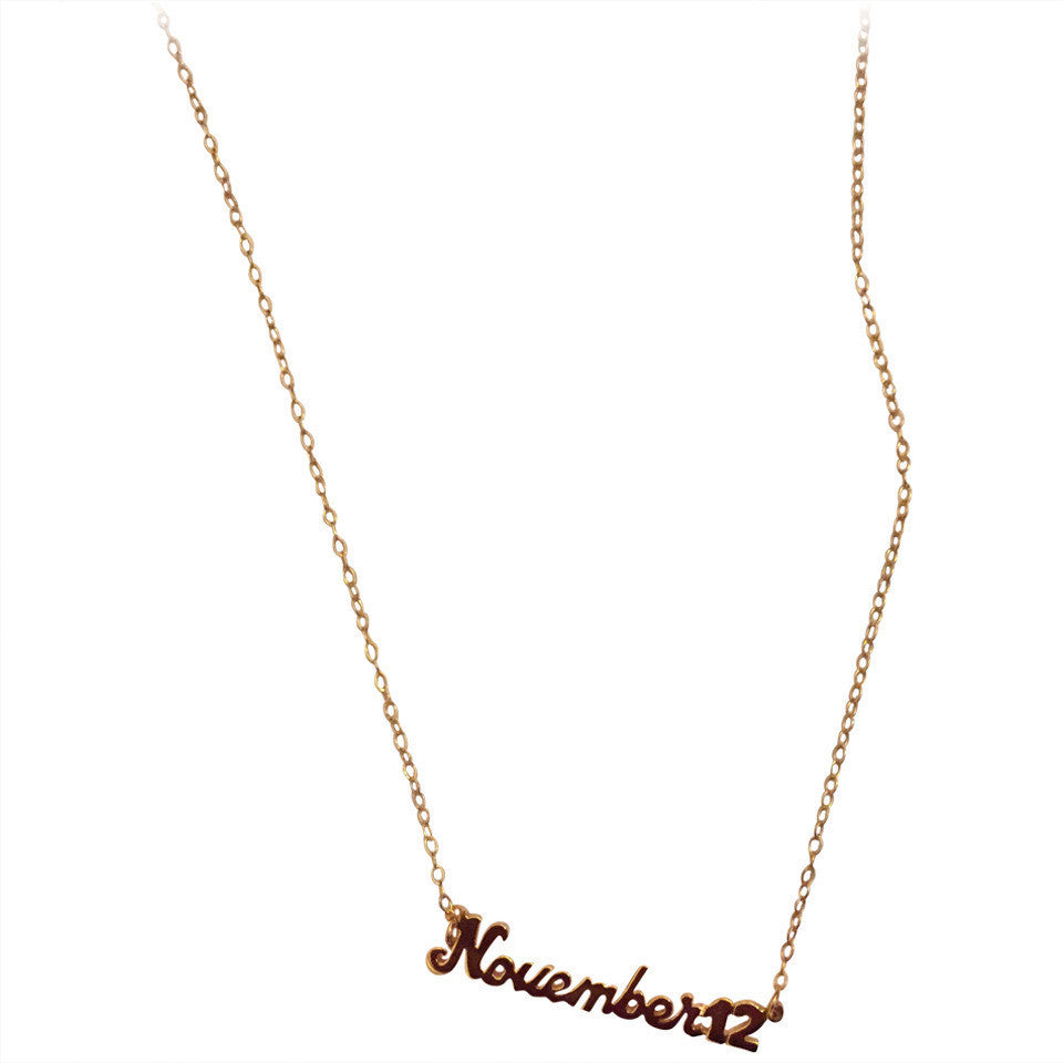 Signature Collection: mini script birthdate necklace