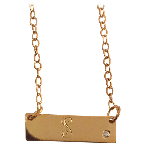 "The ""Signature Script Name"" Collection:  Mini Script Initial bar necklace with offset diamond"