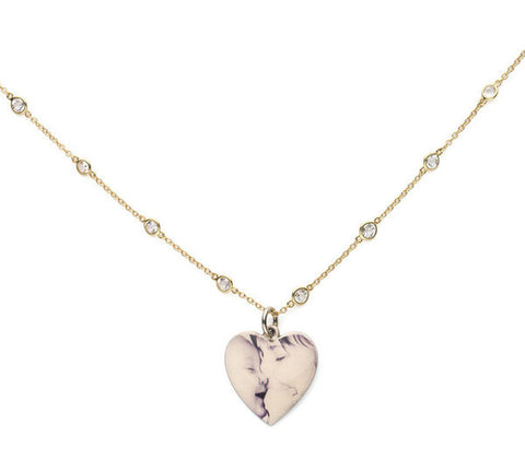 Personalized Large Sterling Silver Heart Picture Pendant with Sterling Silver Ball Chain