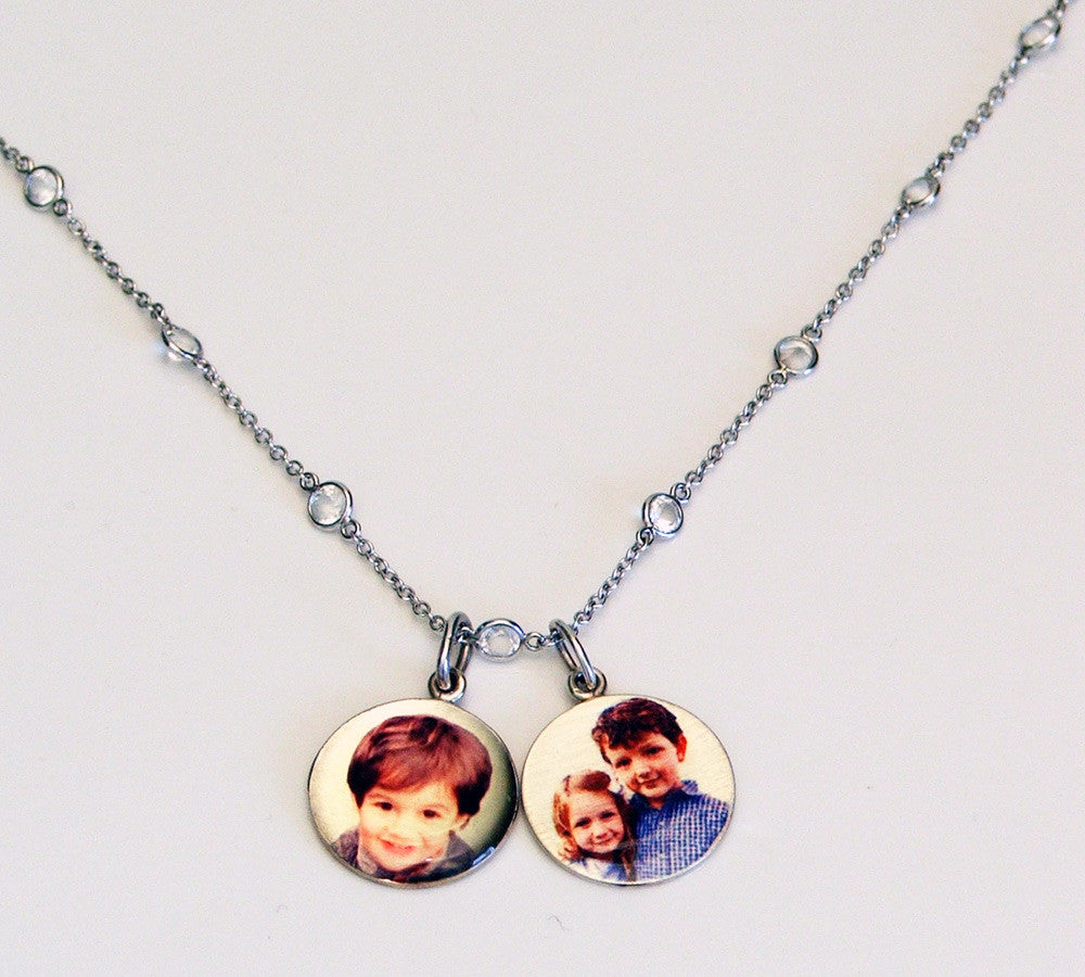 Two Small Personalized Sterling Silver Picture Pendants