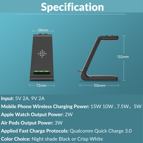 3 in 1 wireless charger Specification