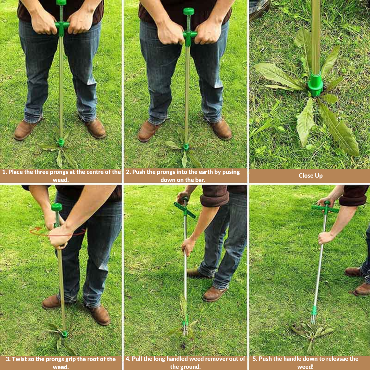Long handled weed remover instructions