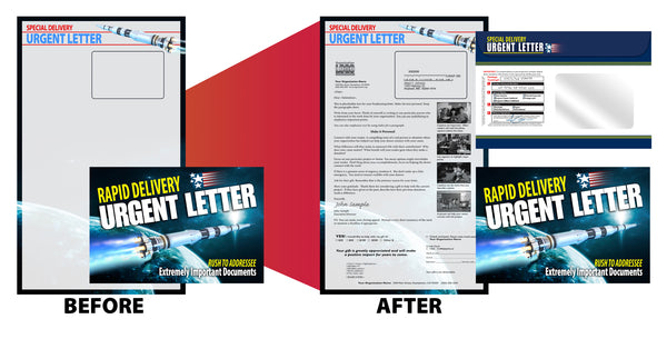 6 x 9 Direct Mail package with rocket ship image