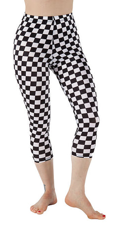 Black and White Checkered Spandex Capri - Tasty Tiger - 1