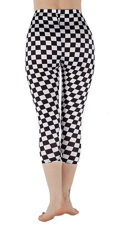 Black and White Checkered Spandex Capri - Tasty Tiger - 4