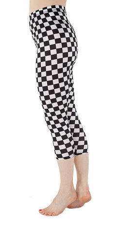 Black and White Checkered Spandex Capri - Tasty Tiger - 3