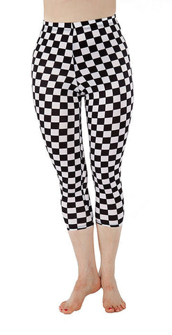 Black and White Checkered Spandex Capri - Tasty Tiger - 2