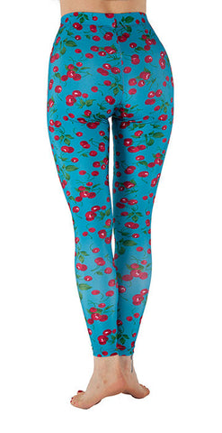 Blue Spandex Leggings With Cherries Print - Tasty Tiger - 3