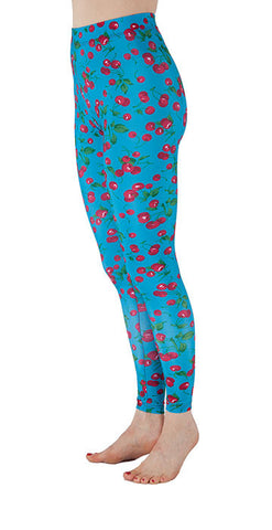 Blue Spandex Leggings With Cherries Print - Tasty Tiger - 1