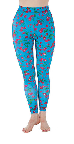 Blue Spandex Leggings With Cherries Print - Tasty Tiger - 2