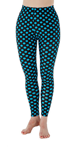 Black with Blue Dots Spandex Leggings - Tasty Tiger - 2