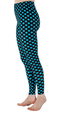 Black with Blue Dots Spandex Leggings - Tasty Tiger - 3