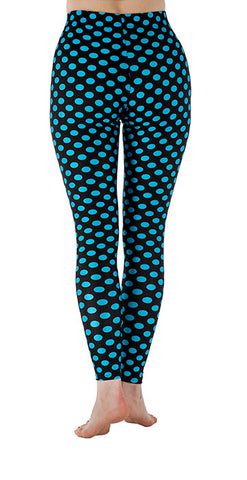 Black with Blue Dots Spandex Leggings - Tasty Tiger - 4