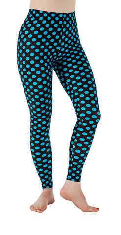 Black with Blue Dots Spandex Leggings - Tasty Tiger - 1