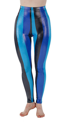 Blue Striped Sparkle Spandex Leggings - Tasty Tiger - 3