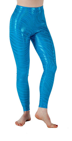 Teal Tiger Sparkle Spandex Leggings - Tasty Tiger - 1