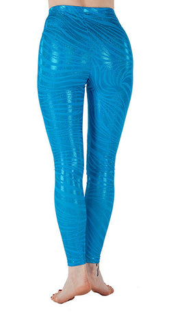 Teal Tiger Sparkle Spandex Leggings - Tasty Tiger - 3
