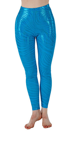 Teal Tiger Sparkle Spandex Leggings - Tasty Tiger - 4
