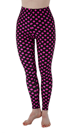 Black and Pink Dots Spandex Leggings - Tasty Tiger - 2
