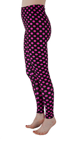 Black and Pink Dots Spandex Leggings - Tasty Tiger - 3