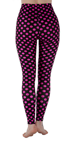 Black and Pink Dots Spandex Leggings - Tasty Tiger - 5
