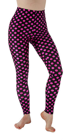 Black and Pink Dots Spandex Leggings - Tasty Tiger - 1