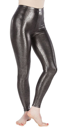 Silver Snakeskin Spandex Leggings - Tasty Tiger - 1