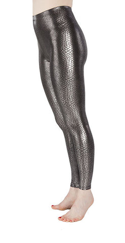 Silver Snakeskin Spandex Leggings - Tasty Tiger - 3