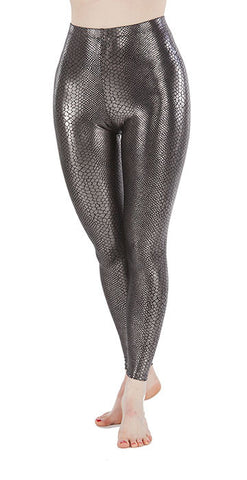 Silver Snakeskin Spandex Leggings - Tasty Tiger - 4