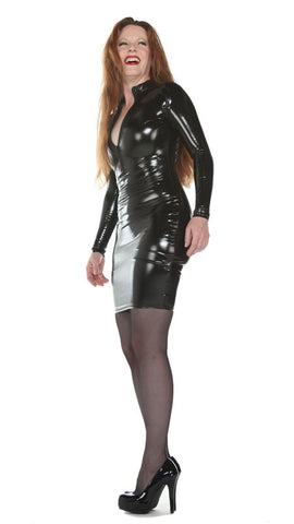 Latex Look Long Sleeve PVC Dress - Tasty Tiger - 2