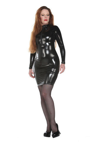 Latex Look Long Sleeve PVC Dress - Tasty Tiger - 3