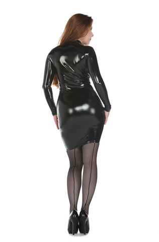 Latex Look Long Sleeve PVC Dress - Tasty Tiger - 1