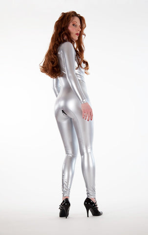 Front Zip Latex Look PVC Catsuit - Tasty Tiger - 7