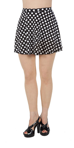 Black Polka Dot Spandex Skirt - Tasty Tiger - 1