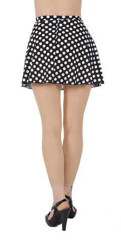 Black Polka Dot Spandex Skirt - Tasty Tiger - 2
