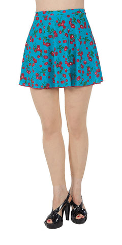Blue Cherry Spandex Skirt - Tasty Tiger - 1