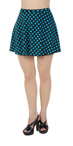 Blue Polka Dot Spandex Skirt - Tasty Tiger - 1