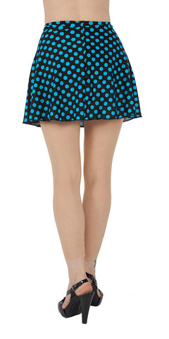 Blue Polka Dot Spandex Skirt - Tasty Tiger - 2